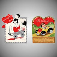Two Vintage Valentines – Kids with Pedal Car and Wagon
