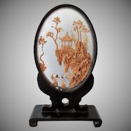 Small Vintage Oriental Cork Carving with Lacquered Frame