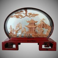 Vintage Oriental Cork Carving - Architectural Theme in Red Lacquered Frame