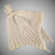 Vintage Cream Colored, Crocheted Baby Bonnet with Pom Pom