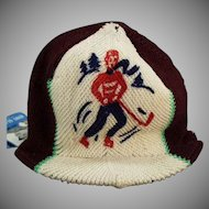 Child's Vintage Winter Knit Hat with Hockey Design - Eton Glacier Paper Tag