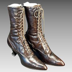 Ladies' Vintage High Top Leather, French Heeled, Laced Shoes