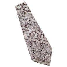 Men's Vintage Necktie – Wide Neck Tie with Faux Reptile Skin Polyester Print