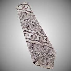 Men's Vintage Necktie – Wide Neck Tie with Faux Reptile Skin Polyester Print