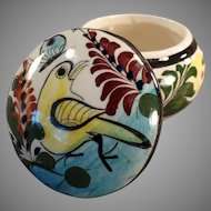 Old Mexican Pottery - Small Covered Dresser Jar - Colorful Yellow Bird Design