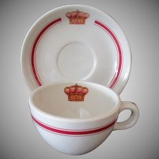 Vintage Restaurant China Coffee Cup and Saucer – Royal Crown Logo 1975