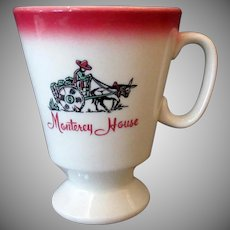Vintage Monterey House Restaurant China Coffee Mug Pedestal Cup