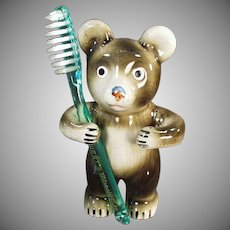 Vintage Toothbrush Holder - Figural Bear Tooth Brush Holder - Victoria Ceramics