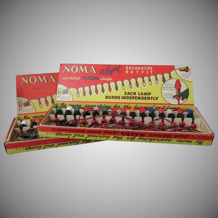 vintage noma christmas tree lights two strands 15 lamps each original boxes