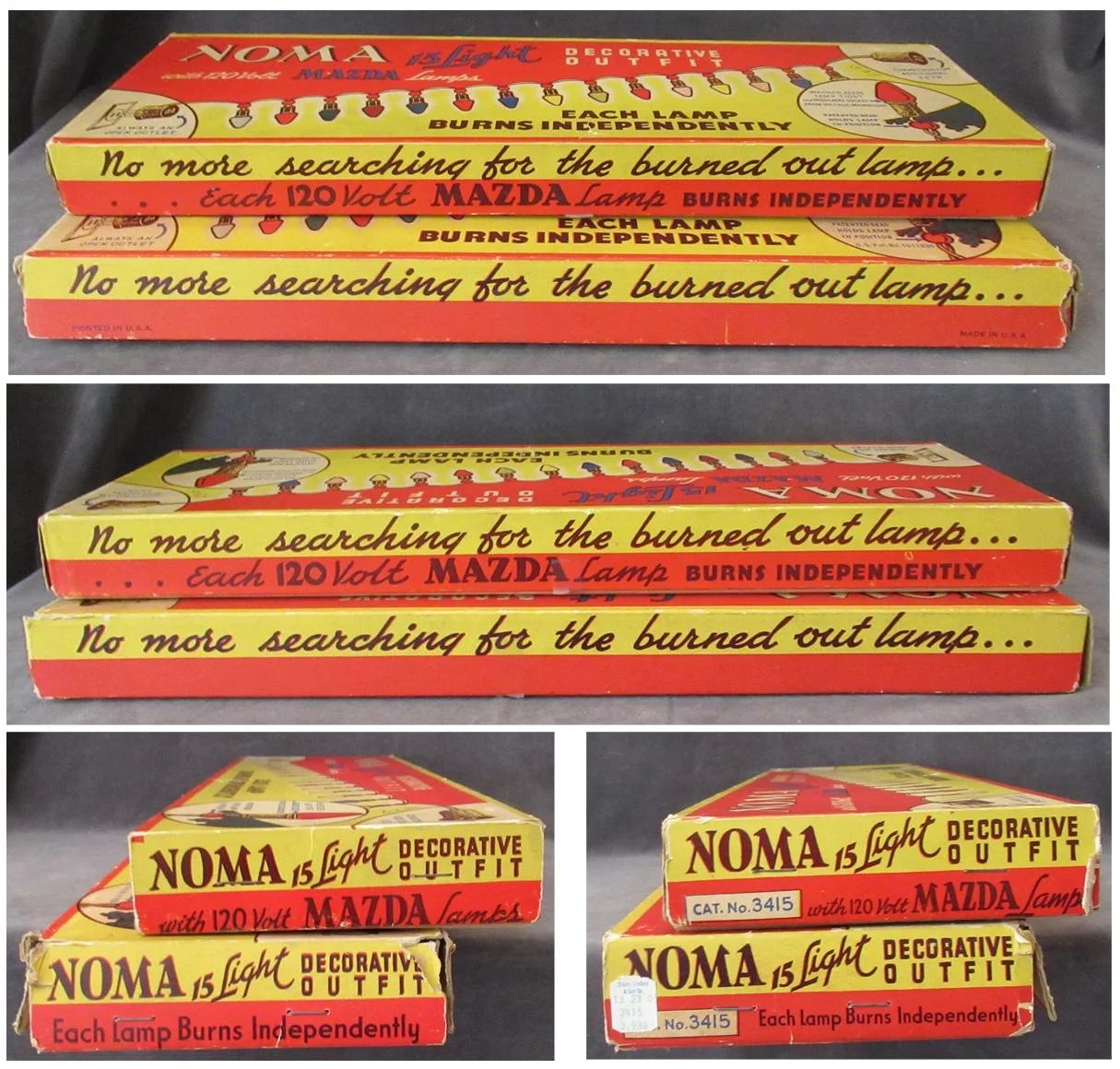 vintage noma christmas tree lights two strands 15 lamps each original boxes click to expand