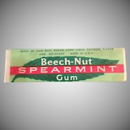 Vintage Stick of Beech-Nut Spearmint Chewing Gum ca. 1940's - 1950's