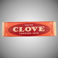 Vintage Chewing Gum Sample Stick - Adams Clove -1940's - 1950's