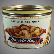 Vintage Kelling Nut Co. Tin - Double Kay Mixed Nuts - Nice Graphics