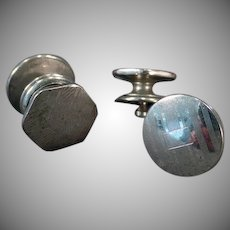 Vintage Cuff Links - Silver Tone Kum-A-Part Style with Two Designs