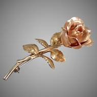 Vintage Krementz Rose Pin with Beautiful Detail - Old Estate Jewelry