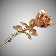 Vintage Krementz Rose Pin with Beautiful Detail - Old Estate Jewelry