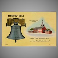 Vintage Patriotic Postcard - The Liberty Bell & Independence Hall