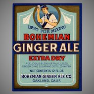 Vintage Paper Soda Bottle Label - Colorful Bohemian Ginger Ale