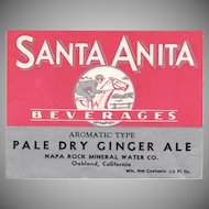Vintage Paper Soda Bottle Label - Santa Anita Beverages Ginger Ale