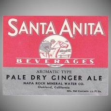 Vintage Paper Soda Bottle Label - Santa Anita Beverages Ginger Ale