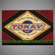 Vintage Paper Soda Bottle Label  - Colorful Tokay Punch