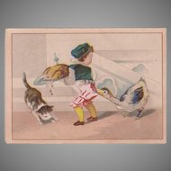 Vintage Advertising Trade Card - Moffitt's Restaurant - Boy and Goose Thanksgiving Scene