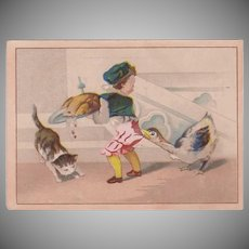 Vintage Advertising Trade Card - Moffitt's Restaurant - Boy and Goose Thanksgiving Scene