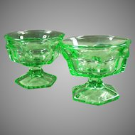 Heavy Green Vintage Glass Ice Cream Sundae or Sherbet Dishes - Pair