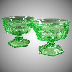 Heavy Green Vintage Glass Ice Cream Sundae or Sherbet Dishes - Pair
