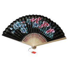 Vintage Bamboo and Paper Japanese Folding Fan with Flowers
