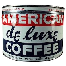 Vintage 1# Key Wind Coffee Can -  American DeLuxe Advertising Tin
