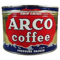 Vintage 1# Arco Coffee Tin - One Pound Key Wind Advertising Tin