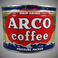 Vintage 1# Arco Coffee Tin - One Pound Key Wind Advertising Tin