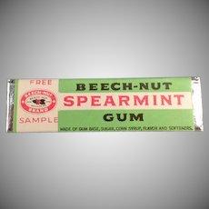 Vintage Beech-Nut Spearmint Sample Chewing Gum Stick