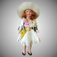 Vintage Cowgirl Doll - Plastic Nancy Ann with Original Western Outfit & Stand