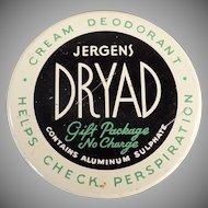 Vintage Jergens Dryad Deodorant Jar - 1950's-1960's