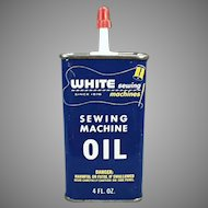 Vintage White Sewing Machine Oil Tin