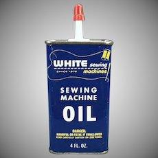 Vintage White Sewing Machine Oil Tin