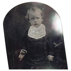 Vintage Tintype Photograph - Young Child - Large Size Format