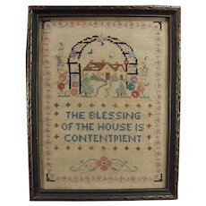 Vintage House Blessing Cross Stitch - Old Framed Cross Stitch