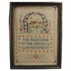 Vintage House Blessing Cross Stitch - Old Framed Cross Stitch