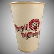 Vintage Ronald McDonald Dixie Cup – 1960's Mc Donald's Advertising