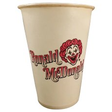 Vintage Ronald McDonald Dixie Cup – 1960's Mc Donald's Advertising