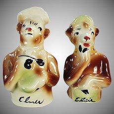 Vintage Elsie & Elmer Salt & Pepper Set - Borden's Famous Cows