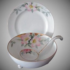 Vintage Hand Painted Nippon 3pc. Mayonnaise Set with Pink Floral Design