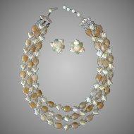 Vintage Costume Jewelry - Bead Necklace & Earrings – Shades of Summer Lemonade