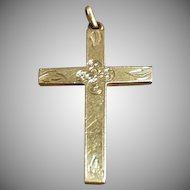Vintage Rolled Gold Cross Pendant with Delicate Detailing