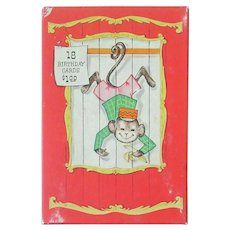 Vintage Greeting Card Box with Monkey and Other Circus Animals