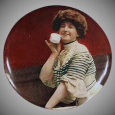 Vintage Handheld Celluloid Mirror with Woman Sipping Tea