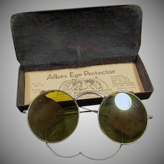 Vintage Yellow Tinted Willson Albex Eye Protector Safety Goggle Eye Glasses with Tin